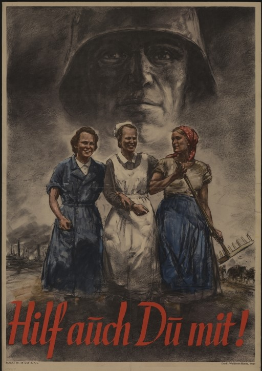 """Im Zweiten Weltkrieg verbreitete die NS-Politik auch das Bild der soldatischen Frau in Waffen- und Munitionsfabriken. An der """"Arbeitsfront"""" sollte sie genauso für das nationalsozialistische Deutsche Reich """"kämpfen"""" wie der Soldat in der Truppe. 1942, Theo Matejko, ÖNB Bildarchiv und Grafiksammlung"""