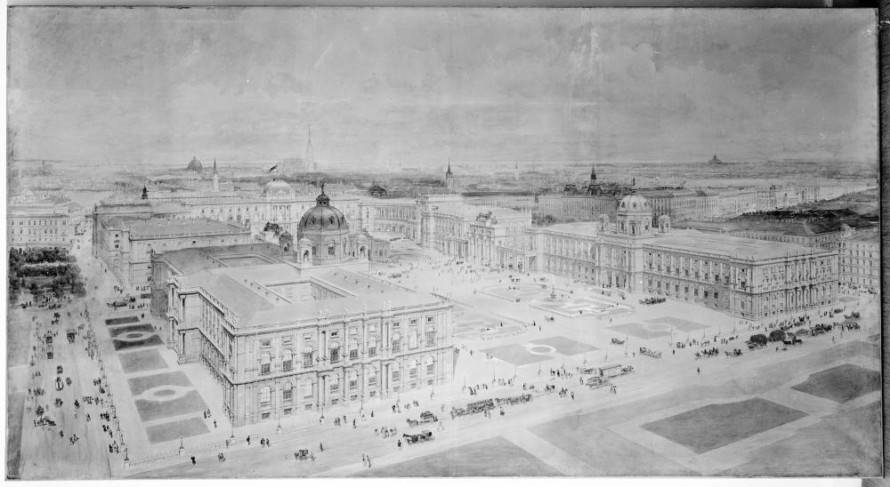 Das geplante 'Kaiserforum zwischen Hofburg und Hofmuseen', im Hintergrund rechts die 'Neue Burg', Aquarell: Rudolf von Alt, Wien, 1872, ÖNB Bildarchiv und Grafiksammlung