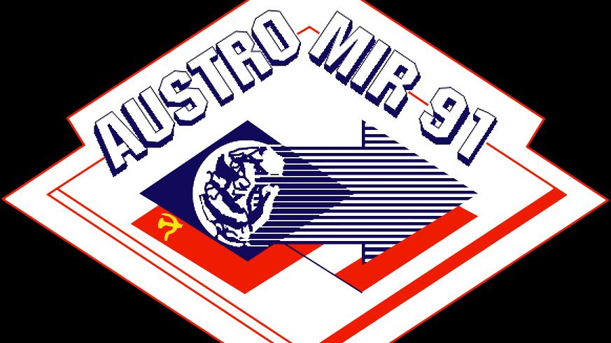 Offizielles Patch der Crew der sowjetischen Soyuz TM-13-Mission, mit an Bord die Crew der Austromir