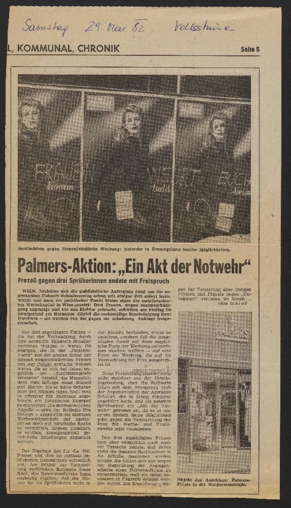 Bericht über den Prozess gegen die Protestierenden in der Zeitung Volksstimme, 29.5.1982